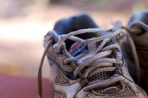 A well-beat-up running shoe; photo courtesy Cogdog