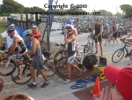 Male triathletes waiting to start the Clear Lake Swim