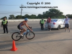 Cyclist returning to the triathlon transition area
