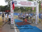 Crossing the finish line at the Clear Lake Triathlon