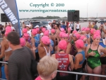 Female triathletes waiting to start the Clear Lake Swim