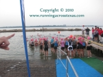 Pink wave swimmers at Clear Lake