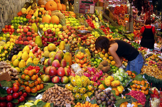 A fruit stall in a Barcelona market; photo courtesy Daderot