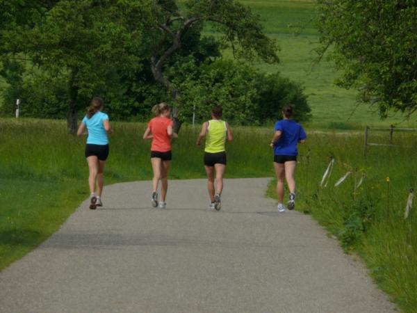 A group of women friends doing a weekly long run