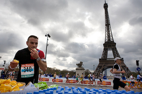 Eating at the Paris Marathon; photo courtesy Michelle Rebecca